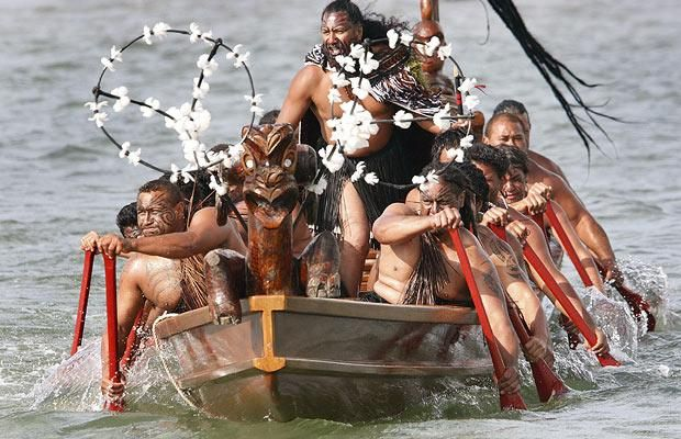 New Zealand Maori warriors paddle their Waka as part of the ceremonies to celebrate New Zealand's Waitangi Day 2009