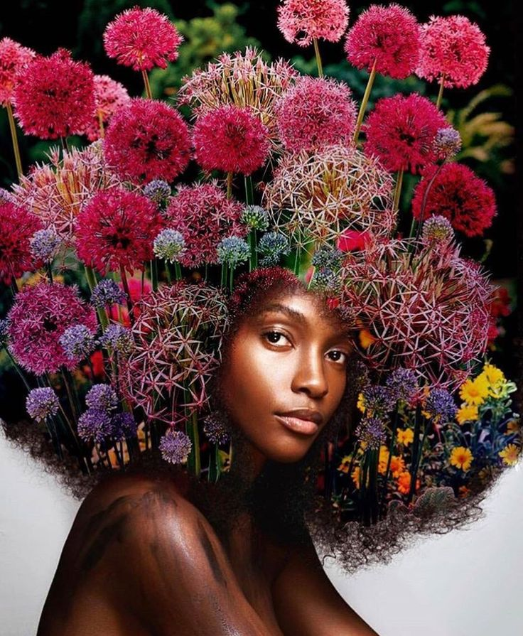 Flowers in her hair Natural hair art, Hair art, Afro art
