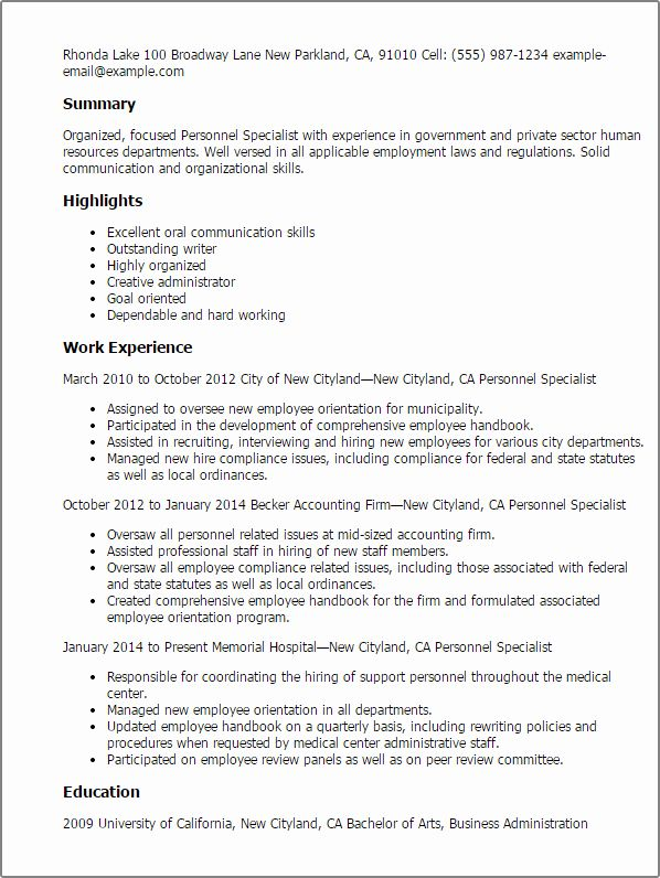 Human Resource Specialist Resume New Professional Personnel Specialist Templates To Showcase