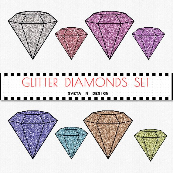 Glitter DIAMONDS Digital Clipart Silver Gold 8 psc PNG - Instant Download {glitter clipart, clip art, digital diamonds, diamonds clipart}