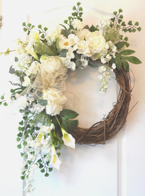 White Spring Summer Peony Wreath for sale by HungUpOnWreaths, $139.00