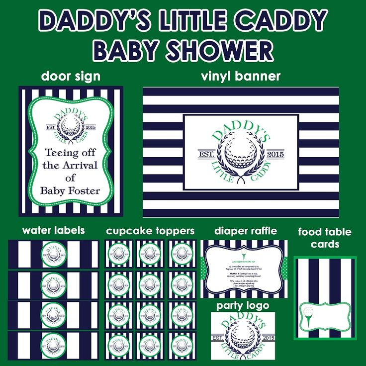 Daddy's Little Caddy Golf Theme Baby Shower Invitations and Decorations