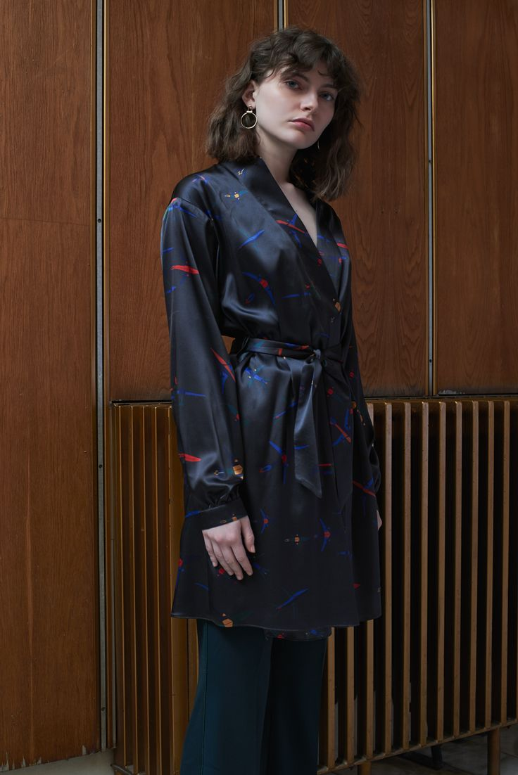 TALLINN - silk kimono dress with TBILISI - flared trousers in emerald