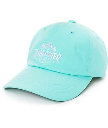 9b7a61cd044 Part of the limited edition HUF x Thrasher Tour De Stoops collaboration  collection. Mint green curved bill baseball hat with custom Thrasher Flame    HUF ...