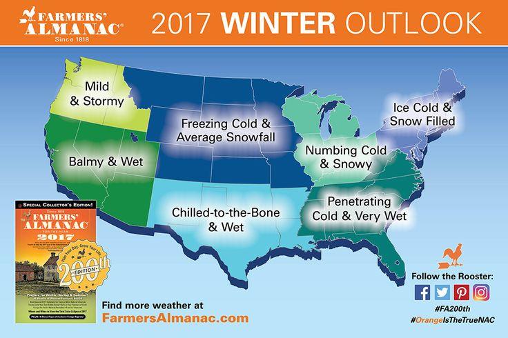 Farmers' Almanac 2016-17 U.S. Winter Weather Map