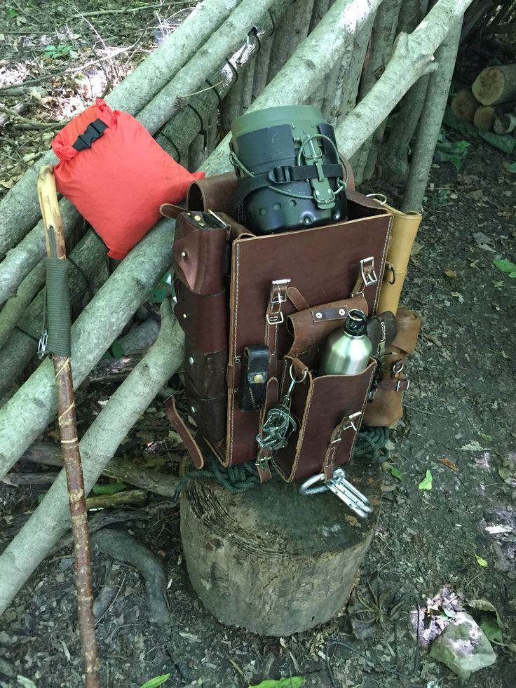 Hand stitched Leather Bushcraft Backpack Daypack Rucksack - By Gillie Leather