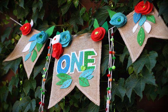 One Burlap Birthday Banner One Birthday Bunting by HouseOfLaylayt