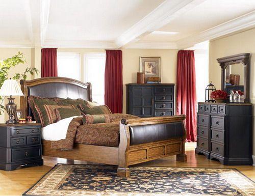 rustic sleigh bedroom set in distressed black and dark images