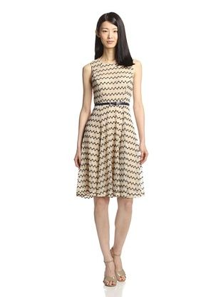 61% OFF Sharagano Women's Belted Knit Dress (Tan)
