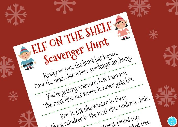 Need some new ideas for Elf on the Shelf this year? I've got fun and free printable Elf on the Shelf Scavenger Hunt clues that will work for any home!