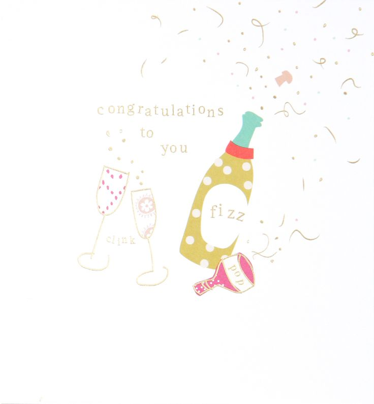 This delicate tippy toe card with the phrase congratulations to you has an explosion of colour complimented by delicate gold foiling giving the card a very deluxe feel. This greeting card comes with a luxurious gold envelope.
