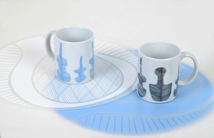 Mugs and placemats for Cycladic Museum! Production & Patent : Prepack Design : Xara Marantidou