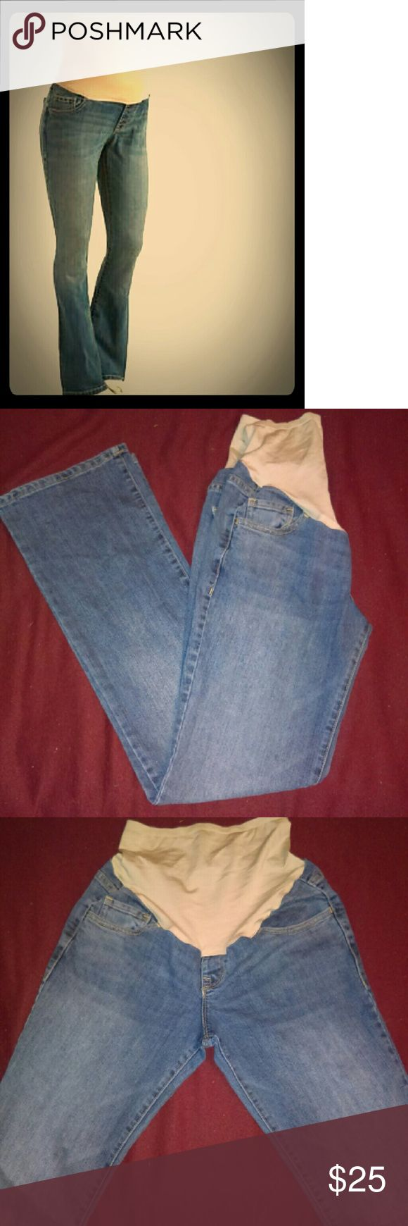 Old Navy Bootcut Full-Panel Maternity Jeans Size 4 Regular Length, nude nylon/spandex full-panel waist band, Maternity Jeans from Old Navy. Great condition! Old Navy Jeans Boot Cut