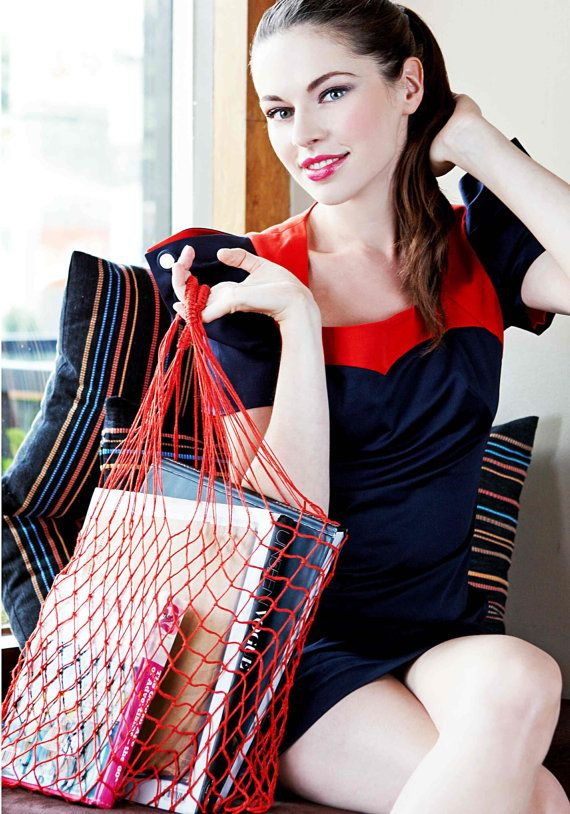 Eko shopping bag-RED Vintage bag Avoska String-bag Fashionable handy bag Retro
