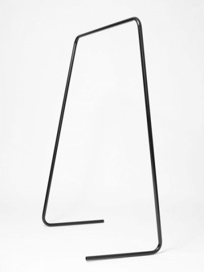 London-based Austrian designer Klemens Schillinger's Oneline clothes rail.  Oneline consists of only a single component – a mild steel tube with four bends.  The tube becomes a structurally stable yet lightweight object. The design considered the maximum available standard length mild steel tubing (6 metres) in order to produce a clothes rail that leaves no offcuts and requires minimal material investment.