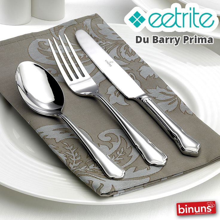 EETRITE DU BARRY PRIMA Wine and dine in style with Eetrite, du Barry Prima stainless steel cutlery sets. From knives and forks, cake lifters to spoons and salad serving sets.  http://www.binuns.co.za/Brands/Eetrite/DuBarryPrima