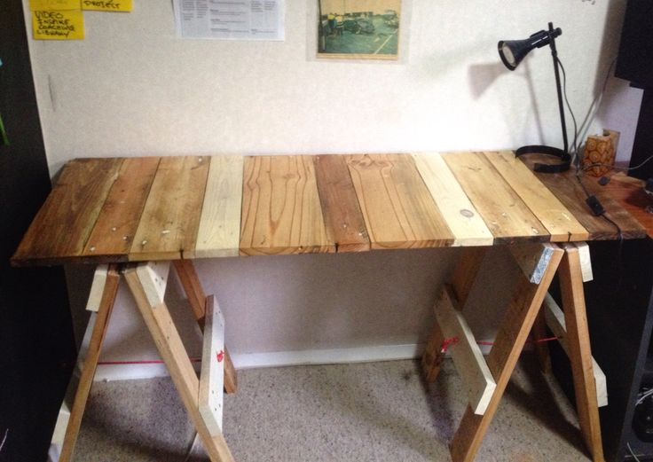 Upcycled pallet DIY trestle table - office desk.