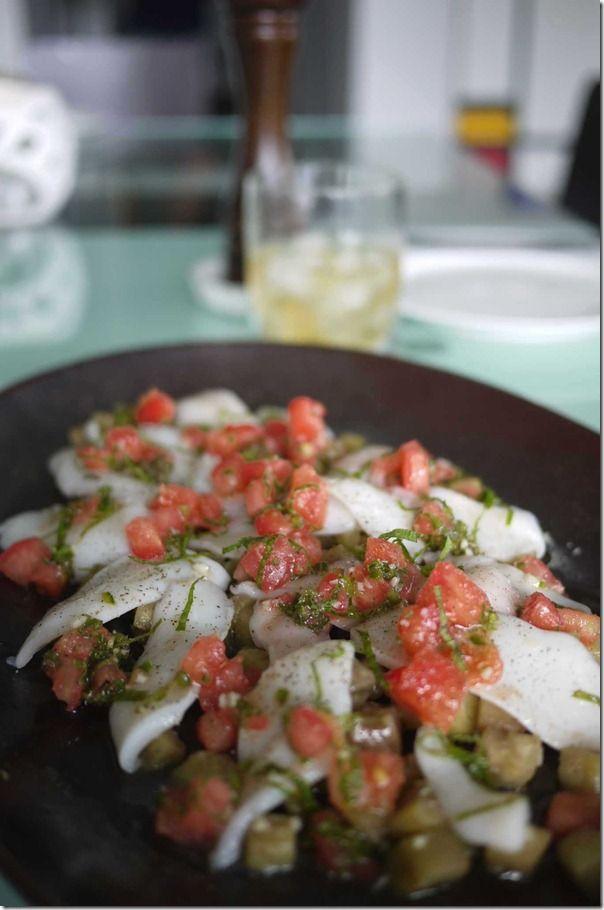 Salad of southern calamari, tomato, eggplant & mint