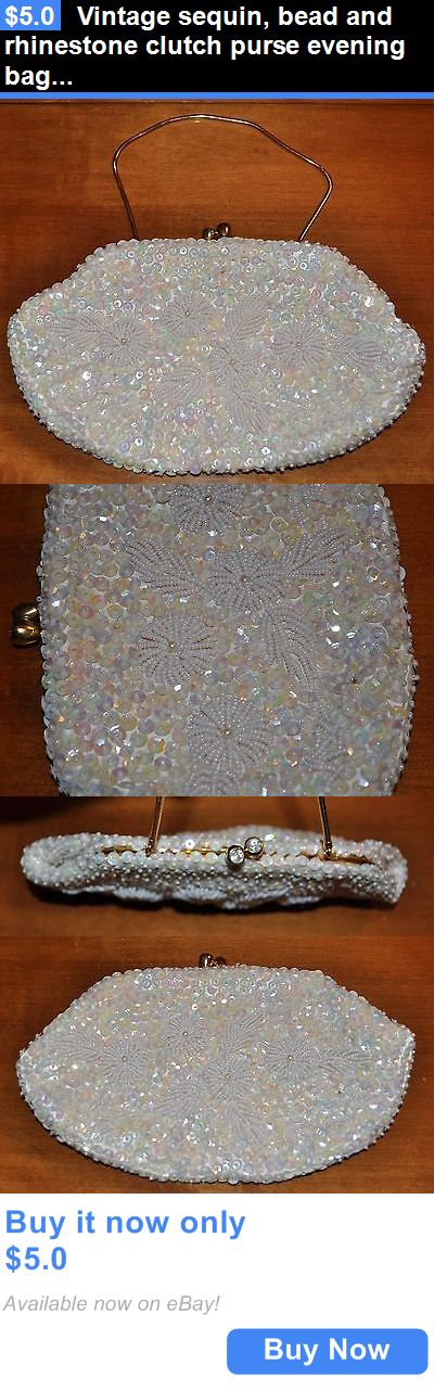 Bridal Handbags And Bags: Vintage Sequin, Bead And Rhinestone Clutch Purse Evening Bag Off White BUY IT NOW ONLY: $5.0