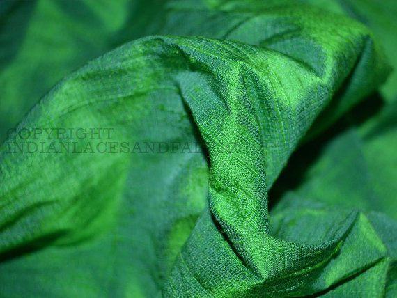 Pure Dupioni Silk raw silk fabric Iridescent Spring Green and Blue