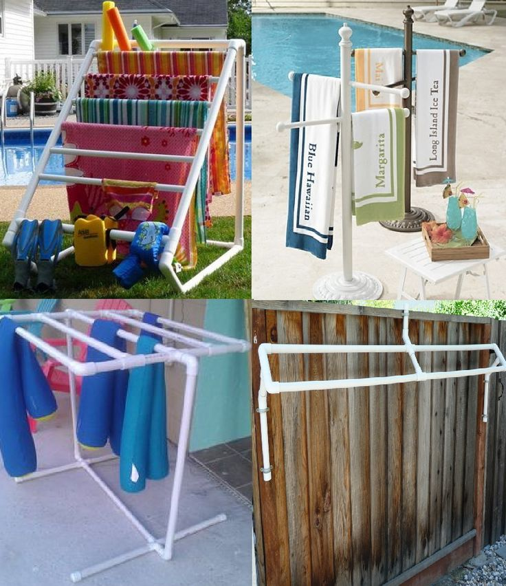 Poolside Towel Drying Racks - These DIY racks are made from the cheap & easy-to-work-with pvc piping! You can make any configuration you like using tees and cutting pipe to fit! (Top right pic uses an old umbrella stand. Bottom right pic uses pipe clamps to attach to your fence.) For some basic instructions check out: http://www.ehow.com/how_5123231_build-pvc-pool-towel-rack.html