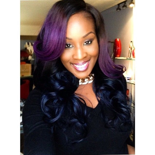 Purple and blue sew in weave