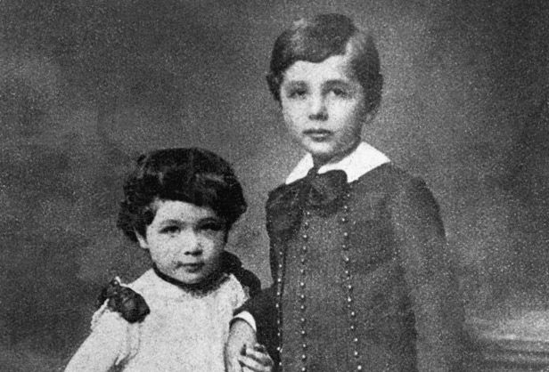 Albert Einstein and his younger sister Maria, nicknamed ...