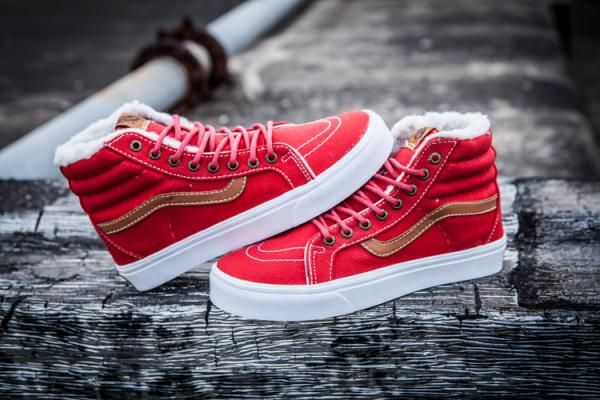 098d805f13 Vans Plus Velvet Neon SK8-Hi Classics Red Tan Womens Shoes  Vans ...