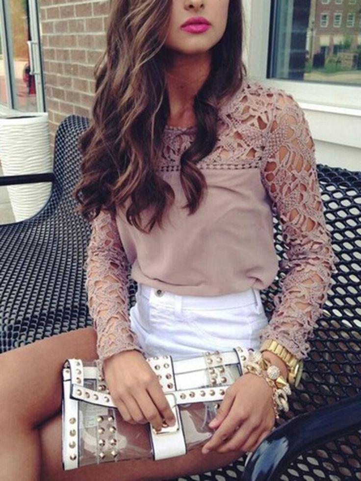 Rosey,Brown,Crochet,Lace,Panel,Long Sleeve,Blouse,Top,Hollow,Cut Out