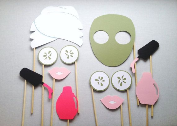 12 Photo Booth Props perfect for fun spa-themed parties! Add MORE fun to your photo booth and make your event UNFORGETTABLE!  My props are constructed from the highest-quality 65-105 lb. cardstock and each one is securely attached to strong, durable wooden birchwood sticks. Every prop is made-to-order, by hand, with your specific party in mind. { I N C L U D E S } • Towel Hair Wrap | 7 • Face Mask | 7.5 • (4) Cucumber Slices | 2.5 • (2) Pink Lips | 3 • (2) Nail Polish Brushes | 5.5 • (2)…