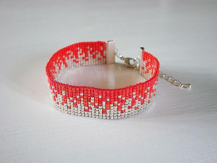 Bracelet en perles tissées Miyuki Sable Corail