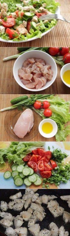 Как приготовить салат из курицы и свежих овощей - отличный и быстрый ужин - рецепт, ингридиенты и фотографии