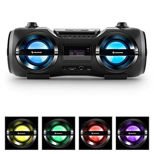 auna Soundblaster M Ghettoblaster chaîne stéréo multimédia avec Bluetooth 3.0 (25W RMS, lecteur CD/MP3, port USB, tuner FM, effet LED,…