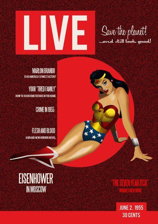 1955: Save the planet...and still look goodWoman Covers, Wonder Women, Des Taylors, Amazon Princesses, Tags Illustration, Wonder Woman, 1955 Covers, Comics Dc Amazon