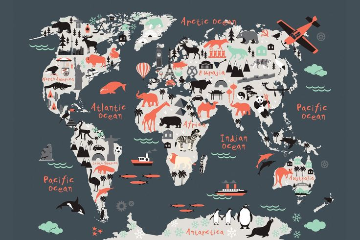 Landmark Kids Map Mural, custom made to suit your wall size by the UK's No.1 for murals. Custom design service and express delivery available.