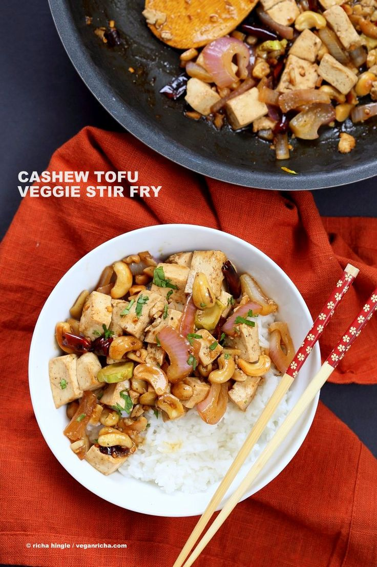 Cashew Tofu Stir Fry. Vegan Thai Cashew Delight Recipe with Tofu and Veggies. Easy One Pot weeknight meal. Serve with rice or grains of choice. Vegan gluten-free Recipe