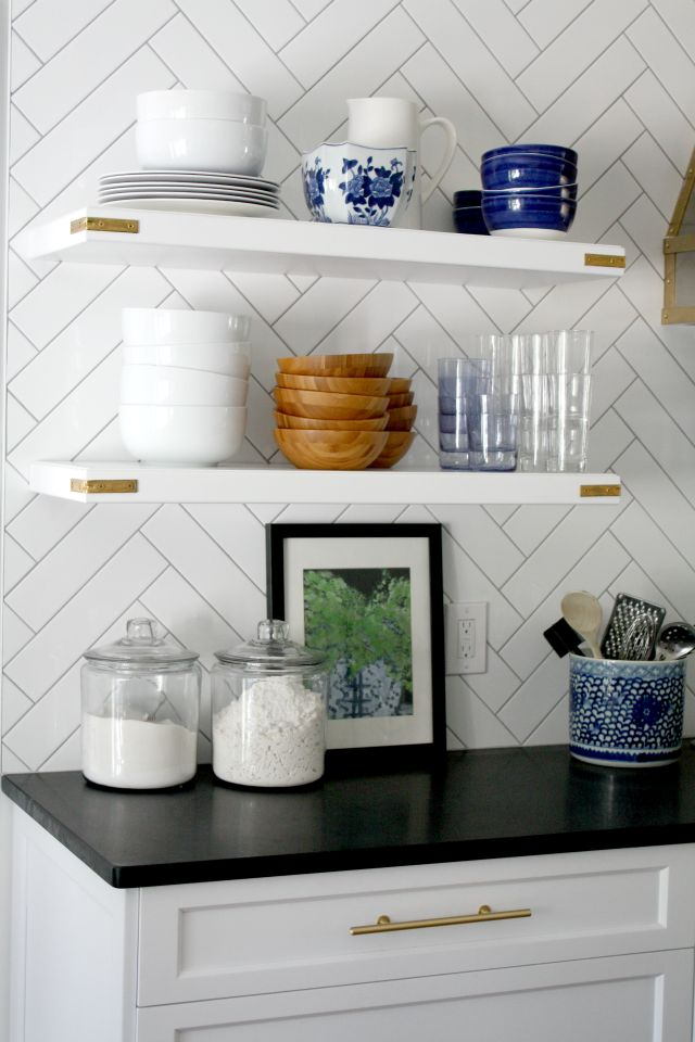 What To Put On Open Kitchen Shelves {Video}, Shelf Styling Ideas, Blue and White, Subway Tile