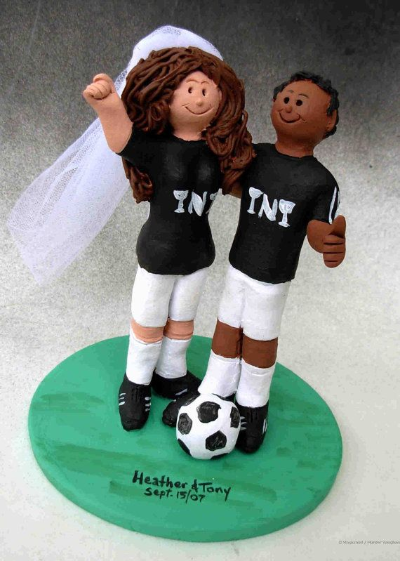 Athlete's Wedding Cake Topper      Soccer Wedding Cake Topper, custom created for you! Perfect for the marriage of a Soccer Playing Groom and his Bride!    $235   #magicmud   1 800 231 9814   www.magicmud.com