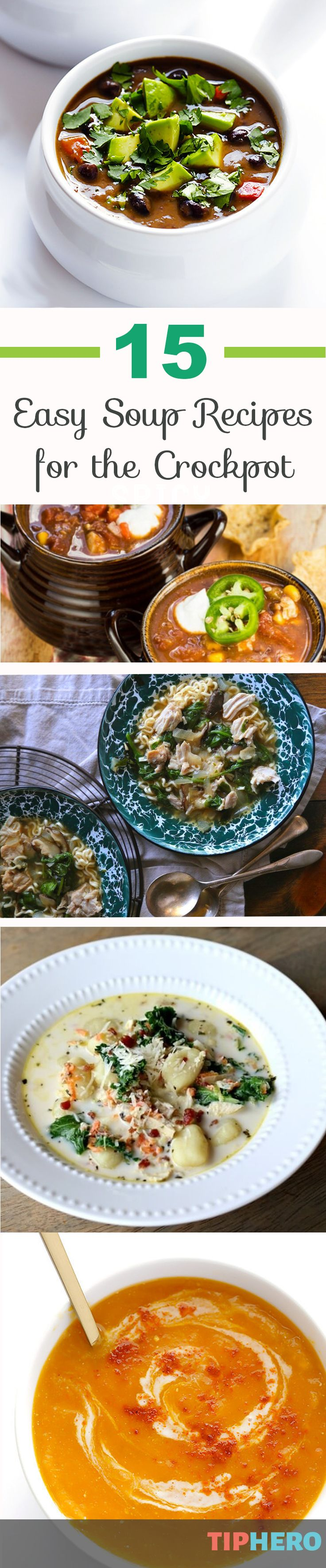 15 Slow Cooker Soup Recipes | 'Tis the season for soup and we put together a collection of some of our favorite crockpot soups that are super easy to make. From minestrone to black bean soup to thai chicken soup to butternut squash soup, there are so many delicious options you'll want to try them all. Enjoy! Click for recipes.