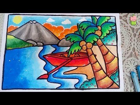 Cara Mudah Menggambar Dan Mewarnai Pemandangan Pantai Dengan Gradasi Warna Oil Pastel Youtube Pemandangan Seni Krayon Pelajaran Seni