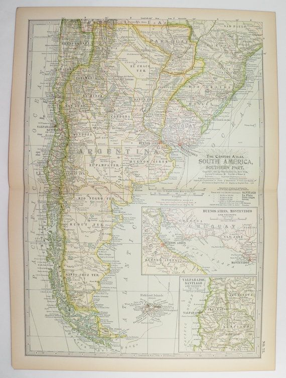 Antique Argentina Map 1901 Vintage Art Map, Chile Map South America, Uruguay Map Paraguay, Latin American Decor New Home Art Gift for Couple available from OldMapsandPrints on Etsy