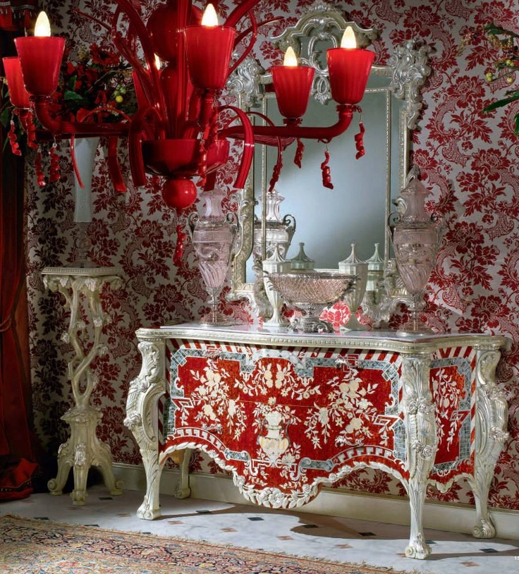 In-love with this Louis xv red/silver gilded commode.