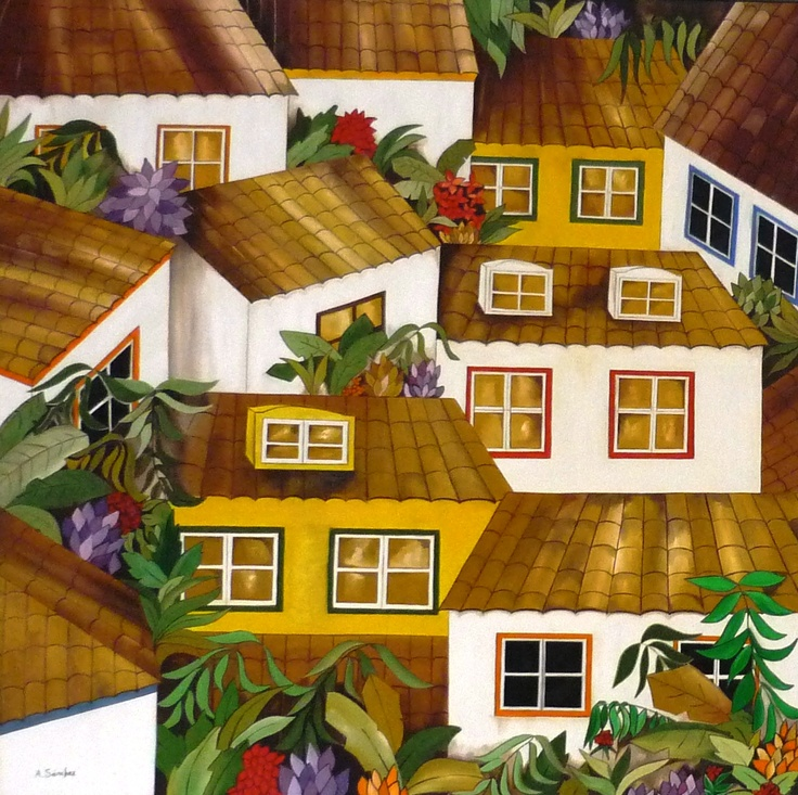 Casas andaluzas  100x100 cms  Óleo sobre lienzo