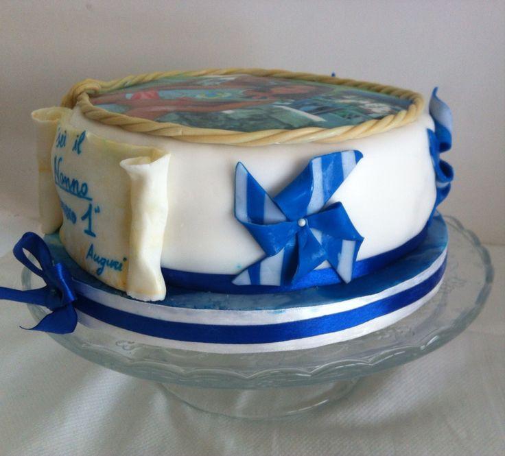 Torta con Girandole bianche e blu