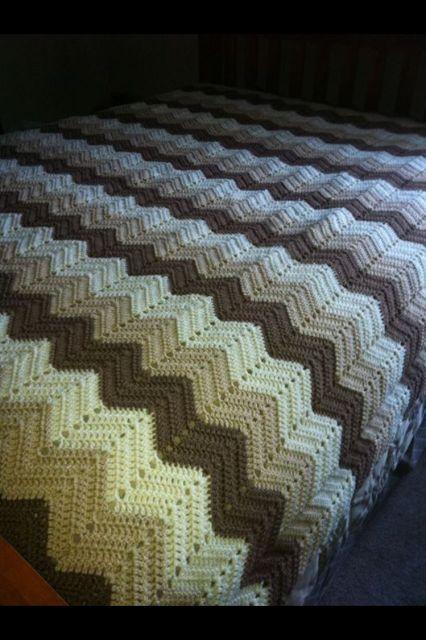 King Size Crocheted Zigzag Blanket