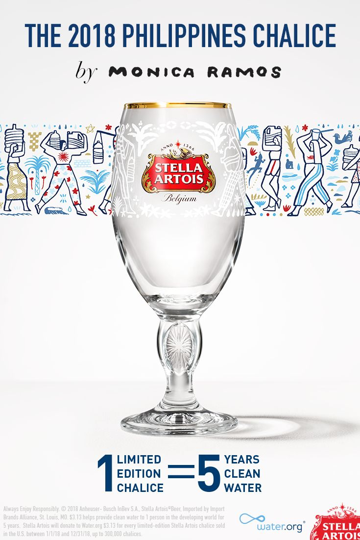 This year's limited-edition Philippines Chalice was designed by local artist, Monica Ramos, to raise awareness for the global water crisis. Did you know 663 million people in the developing world lack access to clean water? While that's a difficult number to imagine, it's never been easier to help. For every limited-edition Stella Artois Chalice purchased, you will provide 5 years of clean water to someone in need. Join us in ending the global water crisis. #1Chalice5Years