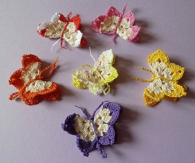 Crocheted butterflies, instructions in German, but shouldn ...