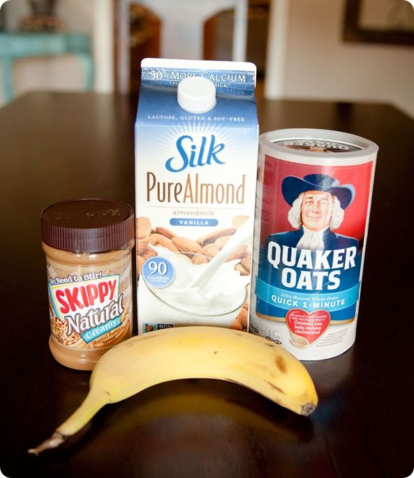 Peanut butter and banana oat smoothie....i bet i could sub almond butter and  like it just as much.