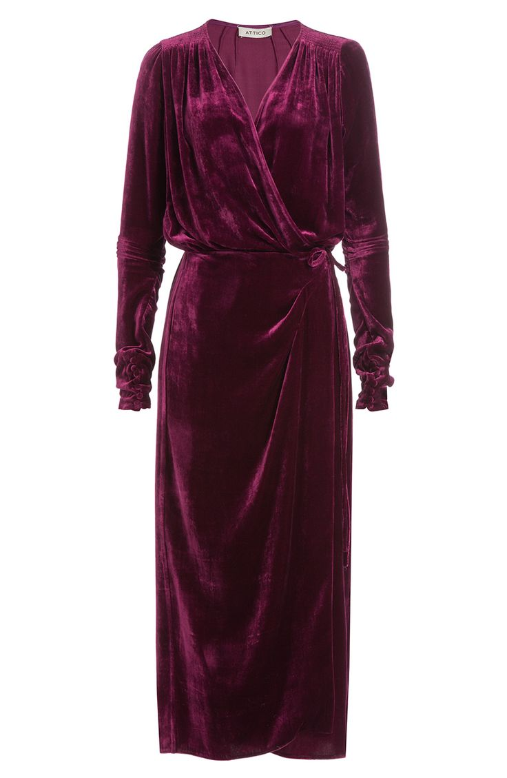 ATTICO Draped Velvet Maxi Dress with Silk. #attico #cloth #maxi dresses