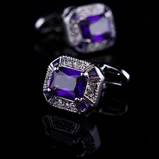 Purple Crystal Centered Cufflinks